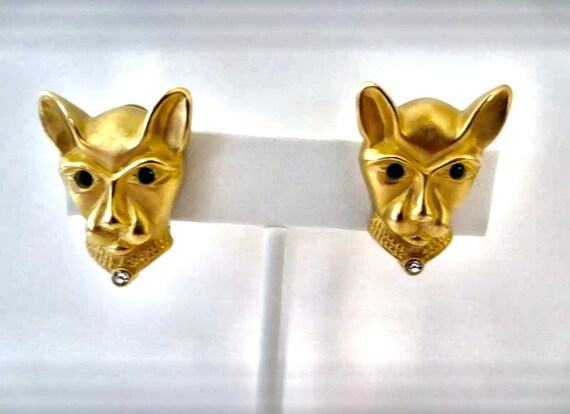 Sizzle Novelist Jackie Collins Matte Goldtone Jeweled Panther Earrings,  80s Glamour Jewelry Runway Earrings Make a Statement Unworn Vintage