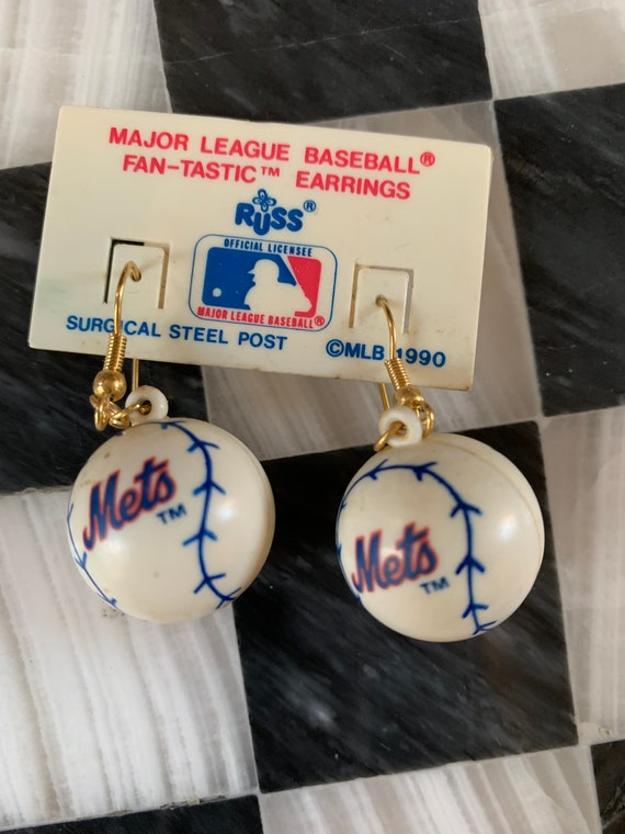 Lets Go Mets Baseball Dangle Earrings