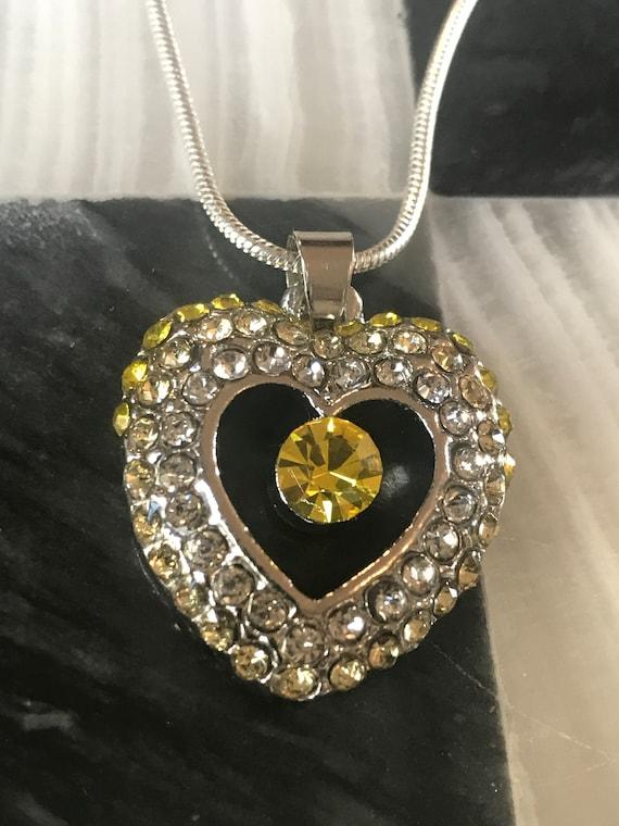 Pretty Citrine Rhinestone Heart Pendant Neacklace chain marked 18k gp silvertone