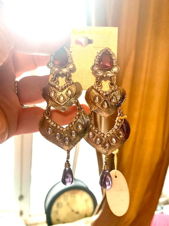 Gothic Amethyst Teardrop Waterfall Dangles, Etruscan 90s Glamour Jewelry Statement Earrings, Goldtone w/ Mauve & Clear Rhinestones