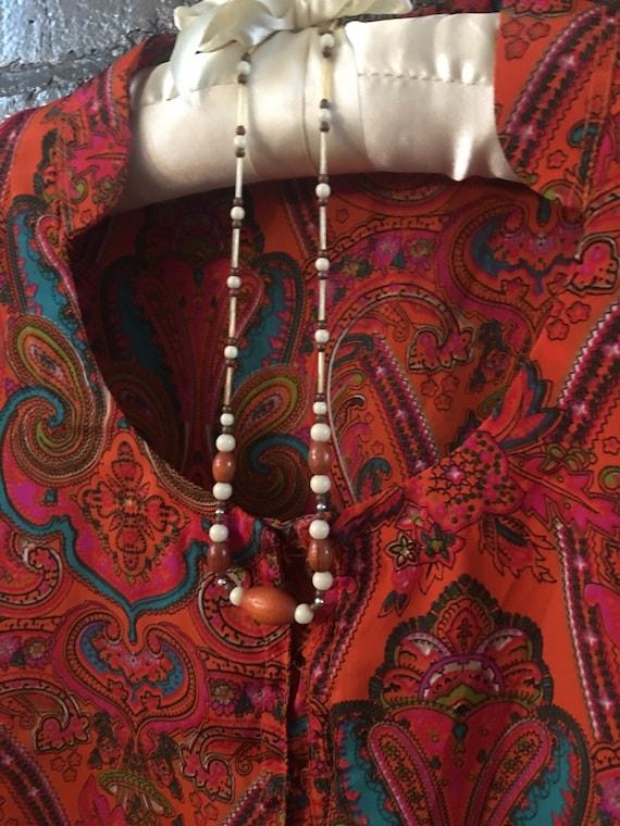 Dainty Wood & mixed Beaded Necklace, 60s modern boho minimalist choker