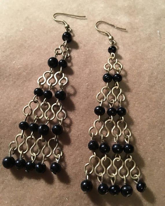 Black beaded chain linked burnished goldtone  mesh dangling chandelier earrings