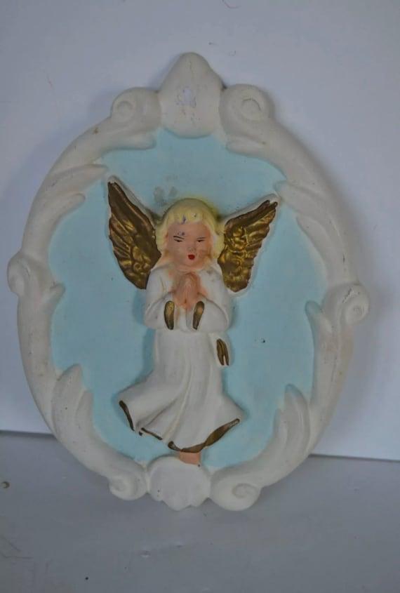 Chalkware Angel Plaque, Trending Vintage Religious Plaster Wall Art