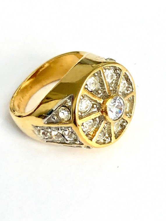 Wheel of Fortune Big Bold Bling Ice Crystal Rhinestone & 18k Gold Plate Statement Cocktail Party Ring size 9.5