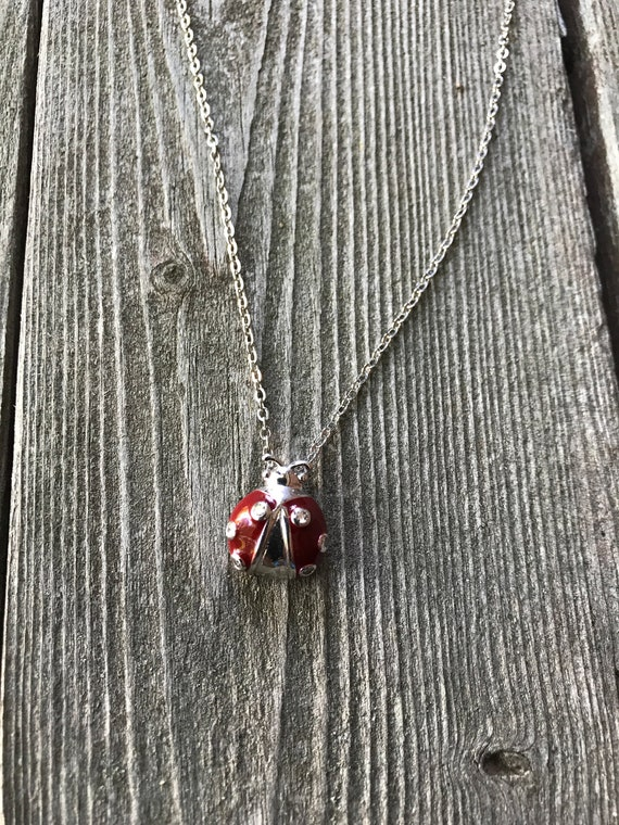 Super Cute Silvertone & Red Enamel with Crystal Rhinestones Lady Bug Pendant necklace