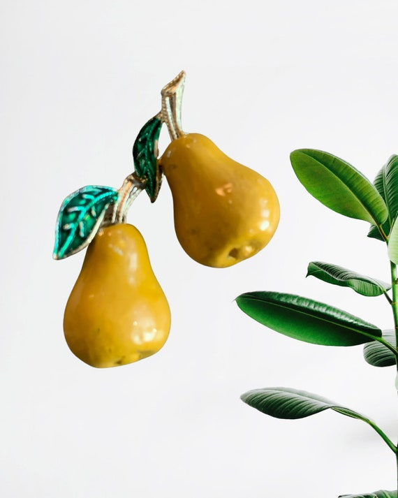 Pair of Pears Scatter Pin Set, Mid Century Yellow Enamel on Gold Tone Vintage Fruit Pins