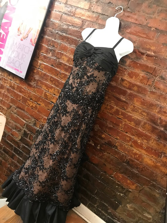 Haute Couture Beaded Black Lace Formal Gown, Gothic Glamour Wedding Black Vintage Lace with sexy bustle, Red Carpet Dress, Designer Vintage