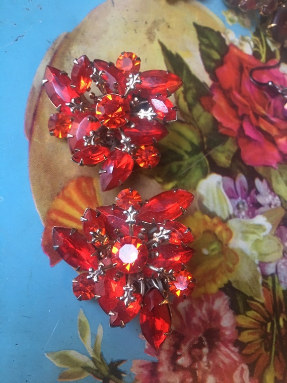 Vintage Fire Blood Orange Rhinestone Statement Earrings, Trending Color Mid Century Glamour Jewelry  Large Clip ons