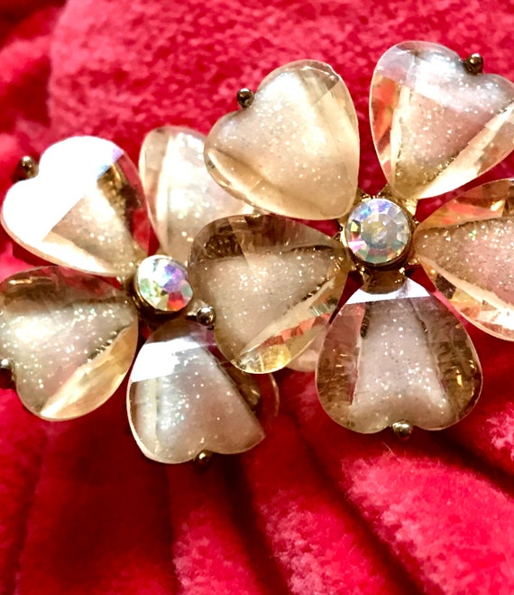 Shimmery Pale Yellow Gold Dust Glitter Givre Lucite  Flower Earrings with AB Crystal Centers