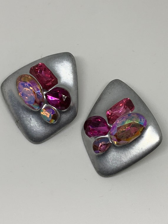 Vintage Modernist Statement Earrings, Artsy Purple Crystal On Matte Silvertone, unique & stylish, Abstract 80s Minimalist