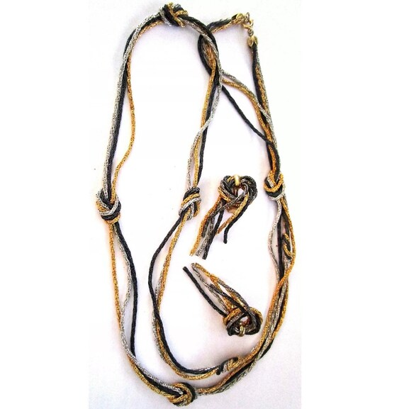 NAPIER Black Silver & Gold Tone Chains Vintage Necklace Earring Set, Tri Tone Knotted Chain Jewelry Set