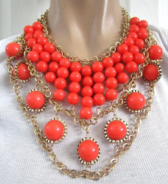 Flashy Wild Orange Cleopatra Style Choker Bib Necklace, Retro Orange Tangerine Lucite Beads & Goldtone Modernist Statement Necklace