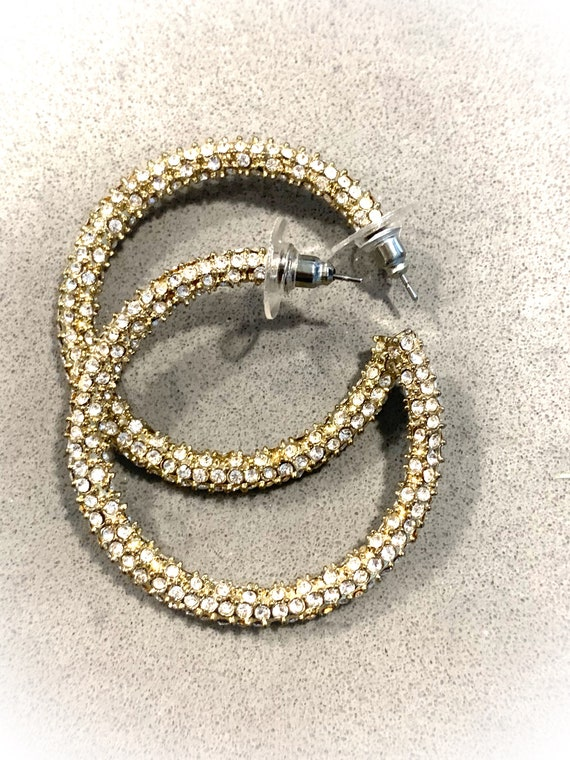 Sparkly Pave Ice Rhinestone Hoops, Glitzy 90s Glam Statement Earrings