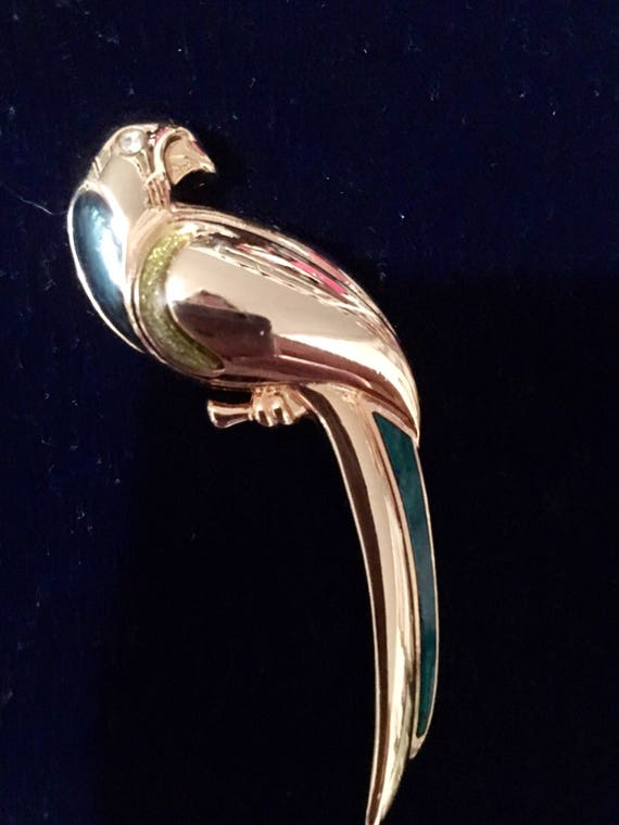 Signed Vintage Goldtone & Enamel Parrot Tropical Bird Brooch Pin