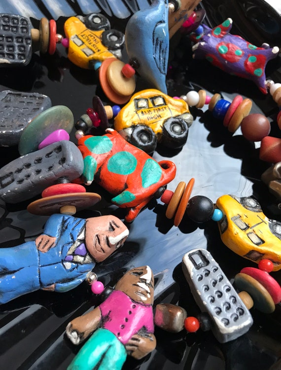 Vintage 80s NYC Graphic POP ART Post Modern Street Flavor Clay Beads of Colorful Downtown People Taxi Hotdog, Signed Artisan Clay Necklace!