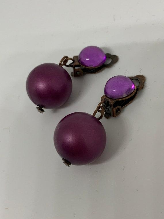 Demure Vintage Purple Faux Pearl Dangles, Sultry Statement Earrings
