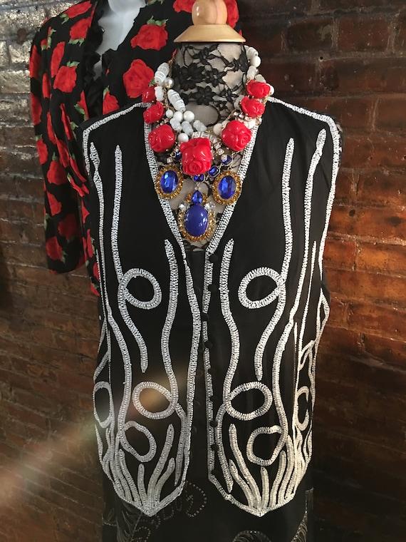 Designer High Fashion Black Silk Vest With White Bead Work by Mary McFadden