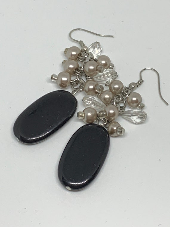 Black Beaded Statement  Earrings, Swingy Beaded Dangles, Cha Cha Cha