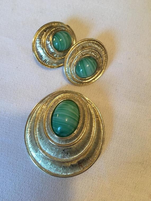 Signed Sarah Cov Vintage Siam MidCentury Peking Glass Earrings Brooch Pendant Set