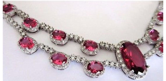 Elegant 80s Art Deco Red Ruby BLING - Your Sexy Romantic Valentines Day Date Night Necklace