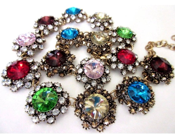 Glamorous Rainbow Rivoli & Ice Rhinestone Statement Necklace!