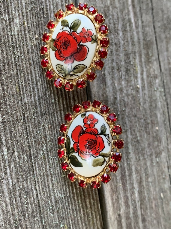 Red Rose Floral Earrings with Red Rhinestones, Mid Century Shabby Chic Cottage Romantic Flower Screw Backs