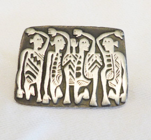 Awesome 80s, Urban Fetishes by ALICE SEELY Pewter Brooch, Abstract Modernist SURREALIST Tribal Mayan Dancing Figures unisex Lapel Pin