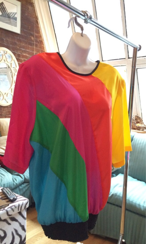 Blousy oversized Rainbow Color blocked Top, Vintage 1980's Big Summer Shirt