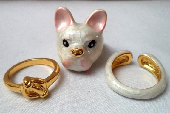 Adorable Bull Terrier Stacking Ring Set, White Enamel & Gold tone Rings size 7 to Size 8 That Stack to Make a Super Cute Dog! Fun Unique