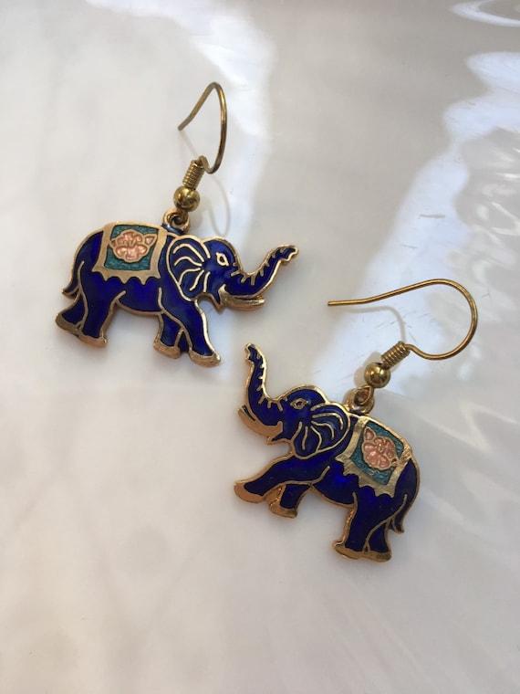 Vintage Blue Enamel Cloisonné Elephant Charm Dangle Statement Earrings, Mid Century Jewelry