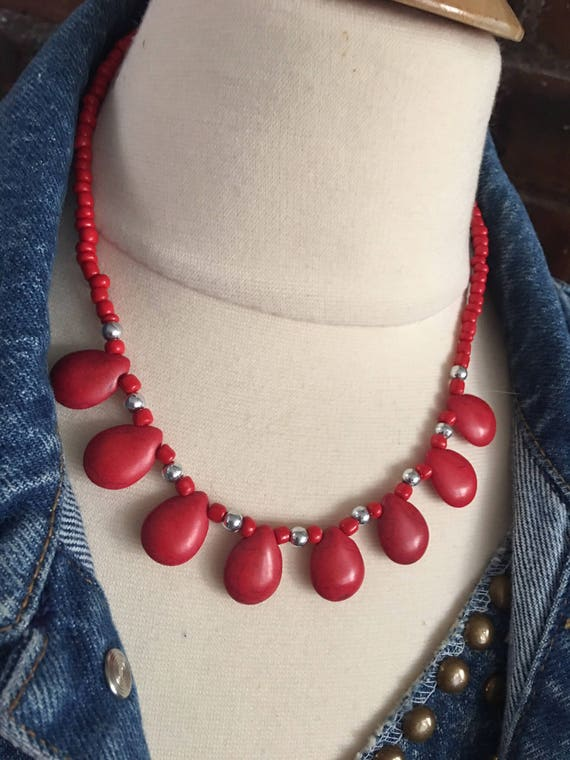 Trendy Vintage Costume Jewelry 80's Southwestern Super Cool Red Boho Beaded Choker