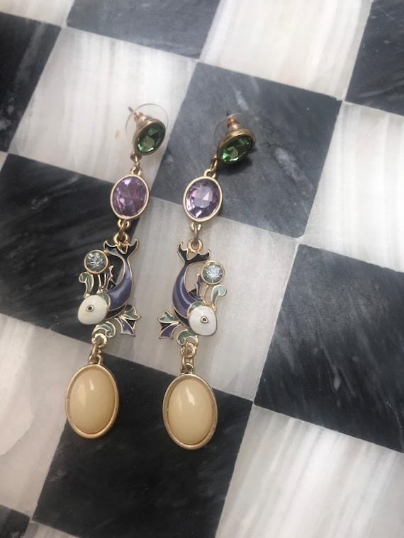 Glamorous Purple Enamel & Rhinestone Fish Dangling Moonstone Statement Earrings