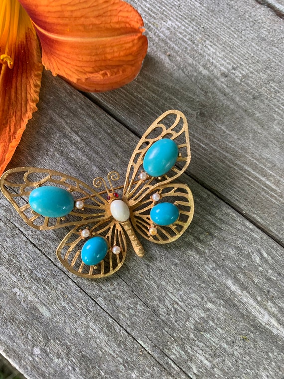 Summery Open Work Turquoise Cabochon Golden Butterfly Brooch, 70s Costume Jewelry Resort Lapel Pin Signed Mandel