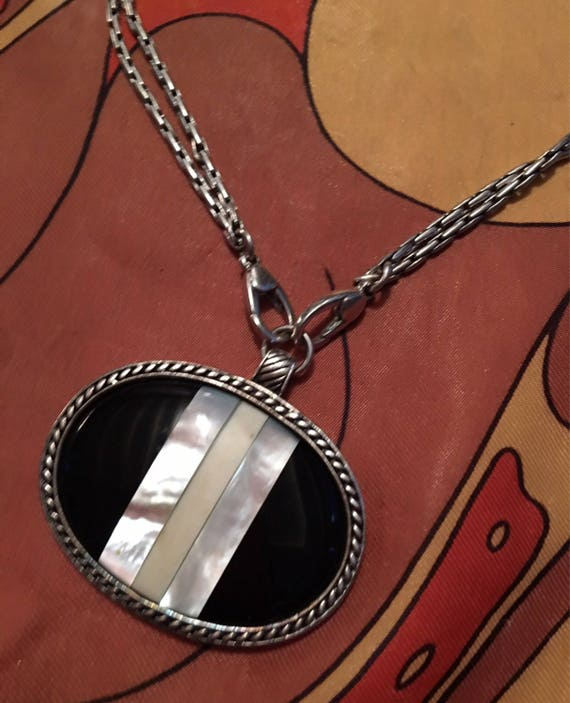 Vintage Signed Monet Mother of Pearl & Onyx Large Oval Pendant on Modern Stylish Double chains