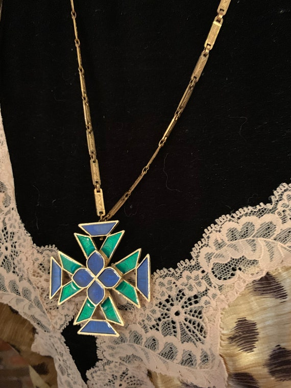 Gothic Blue & Green Enamel Maltese Cross Pendant Necklace, Beautiful Art Deco Chain, Signed Designer Vintage Florenza