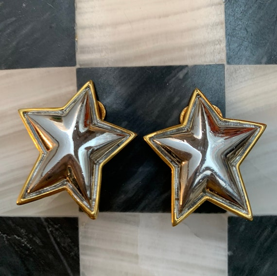 Silver & Gold Puffy Abstract Star Clip ons, Awesome 80s Big Bling Statement Earrings, Cool Glamour Jewelry