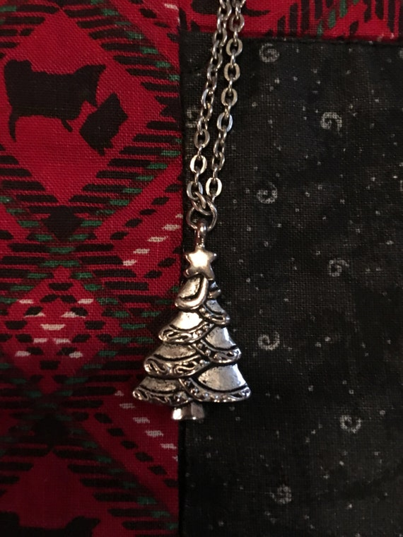Silvertone holiday Christmas Tree Charm Pendant  necklace