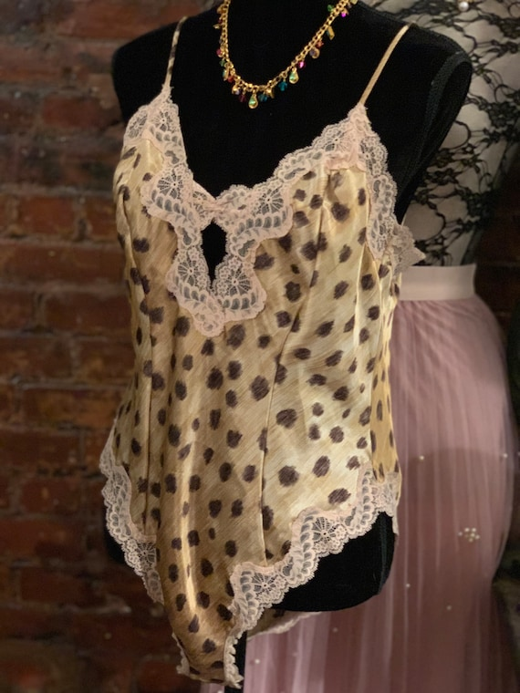 VALENTINO leopard Vintage Lingerie Cami Teddy Trending Leopard Print Designer onesie, Exotic & Sexy! size L
