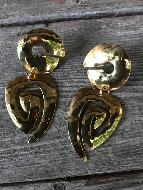 Awesome 80s Big Bold Bling Goldtone Abstract Modernist Glitzy Earrings