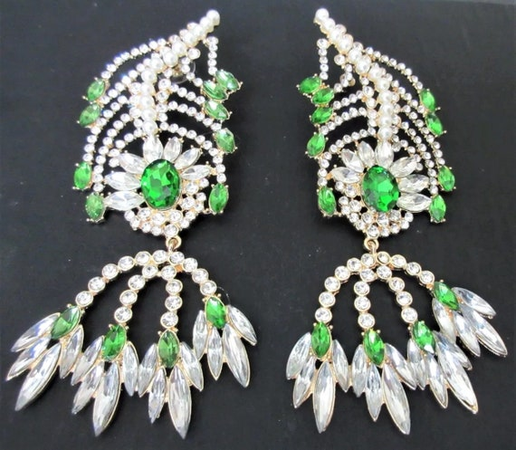 "Amazing 5"" Inch Green and Ice Glass Gems Creamy Faux Pearl & Rhinestone  BURLESQUE RUNWAY EARRINGS!"