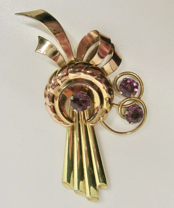 Harry Iskin Art Deco Brooch, 1/20 12K Gold Filled Pin w/ Purple Gems, Signed Collectible Vintage Jewelry, now Trending Unisex Lapel Pin