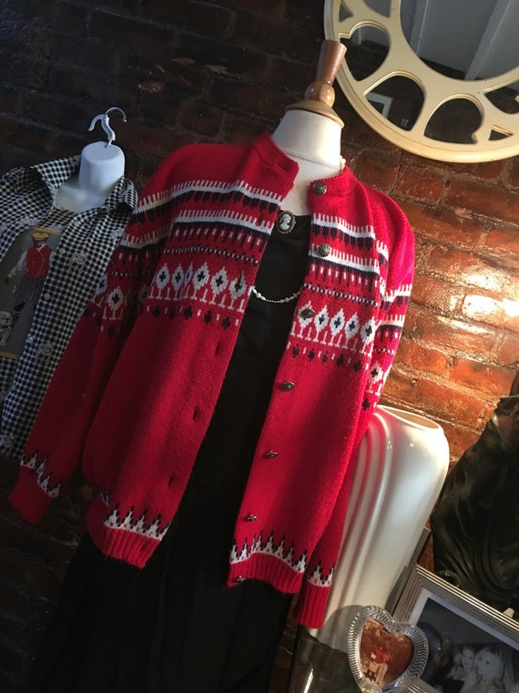 Vintage Red Nordic Cardigan by Amana Woolen Mill of Iowa USA Acrylic Sweater size 42 M/L
