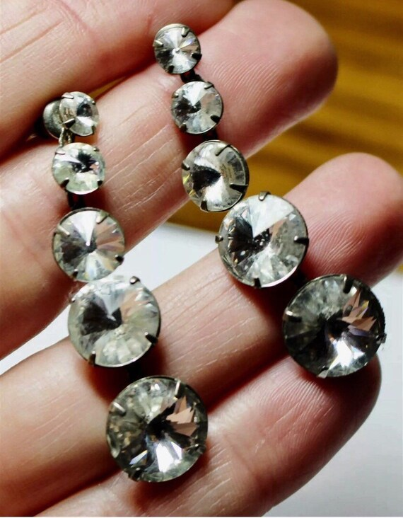 Glamorous Vintage Antique Quality Rhinestone  Dangling by chain Earrings very nice