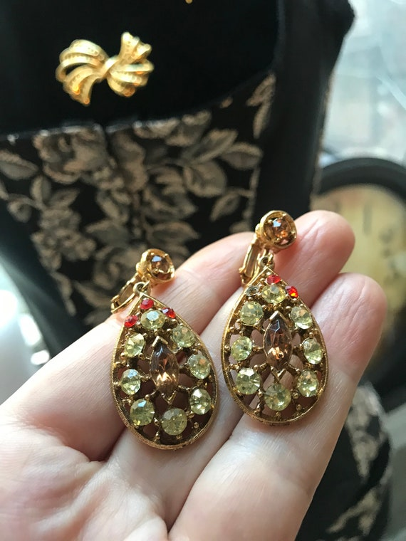 Mid Century Gothic Revival Openwork Rhinestone Teardrop Dangles, 50s costume Jewelry, Juliana RootBeer, Citrine & Fire Bird Red Crystal Gems