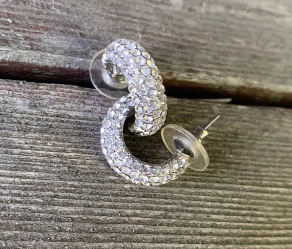 Sparkling Rhinestone Hoop Earrings