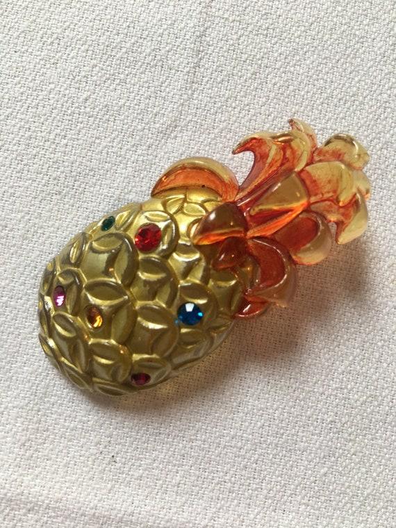 Vintage Painted & Encrusted with Rhinestone Gems Golden Pineapple Pin Brooch