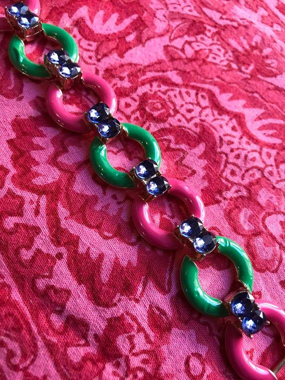 Pink and Green Enamel Hoop Link Bracelet with Blue Rhinestomes Very Pretty & Preppy