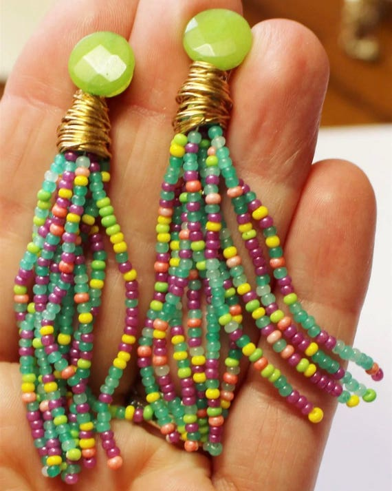 Lime Green & cheerful colorful Seed Bead Tassel Earrings with Crystal / Goldtone wire accents
