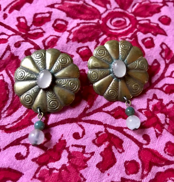 Beautiful Vintage Tribal Bronze Floral Earrings  with Jade Dangle Accents