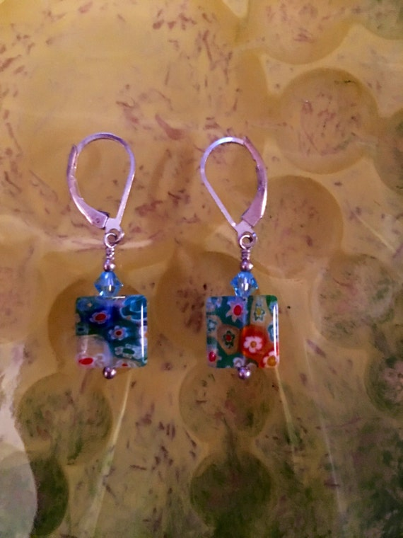 Vintage Millefiori clear with multi color flowers in the glass eartings. Very special